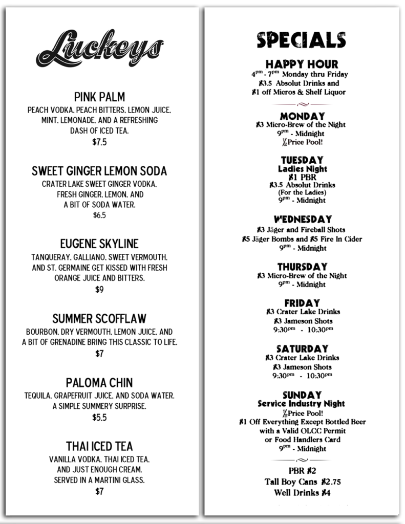 Luckeys Summer Drink Menu